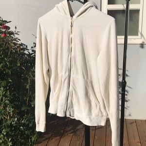 Juice couture ivory velour jacket w/ rhinestone J